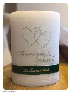 individuelle Kerzen von CANDELA wew.candela.at #hochzeitskerze #taufkerze #anlasskerze #kerze #candela Candle Jars, Candles, Wedding, Decor, Weddings, Decorating Candles, Globe, Wedding Ideas, Projects