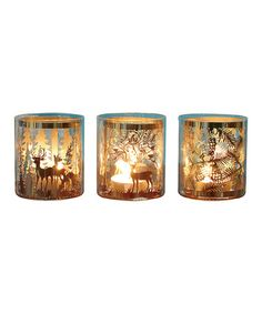 Loving this Christmas Laser-Cut Candleholder - Set of Three on #zulily! #zulilyfinds