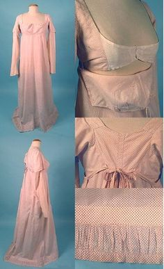 "Nice site on Bib front Regency dress. ""Extant gown, c. 1808. White cotton with red polka dots. Gathered self-fabric trim inset at hem. Clockwise from the top right: Full gown, face front; Close up of the bodice with the bib down (note the drawstring across what would be the top of the bib); Detail of the back, showing the ties (incorrectly tied); Detail of the hem: Side view of the full gown. """