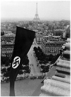June 1940 - The swastika flutters over Paris in surrendered France.