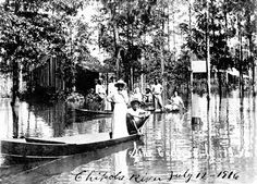 Flooding of homes on Sink Creek/Chipola River.  Photographed on July 12 or 13, 1916.