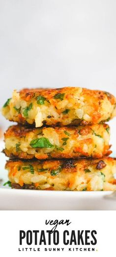 Vegan potato cakes made with leftover mashed potatoes, rice, carrots, onions and parsley! These potato cakes are crispy and lovely from the outside, but super soft from the inside. They are so easy to make, and the kids love them. Naturally gluten-free, and suitable for toddlers. Also great for freezing and make ahead meals. #veganpotatocakes #potatocakes #potatopacakes #potatofritters #mashedpotatocakes