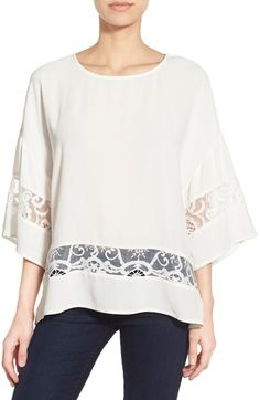 KUT from the Kloth 'Pierce' Lace Inset Top available at #Nordstrom