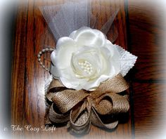 Rustic Burlap  Rose Country Wedding Corsage by thecozyloft #rusticwedding