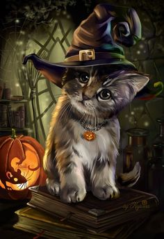 ▷ 1001 + ideas for Halloween pictures to match the mood- ▷ 1001 + Ideen für Halloween Bilder zur passenden Stimmung a little cat with a witch hat, a little mouse in the pumpkin carved halloween background - Photo Halloween, Halloween Cat, Halloween Images, Halloween Pictures To Draw, Samhain Halloween, Halloween 2018, Halloween Costumes, Cute Animal Drawings, Cute Drawings