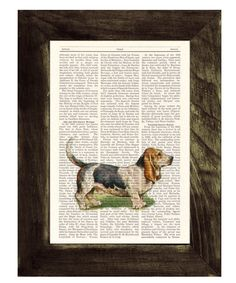 Basset Hound Dog Dictionary Book Print - Altered art on upcycled book pages. $7.99, via Etsy.