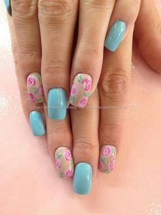 Light blue and nude #nails with pink flowers. Cute!