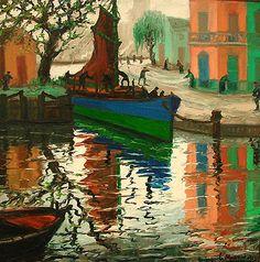 Benito Martin Quinquela (1890 - 1977) Pintor Argentino, que retrato como nadie la vida del puerto argentino y de los inmigrantes que vivian en el barrio de La Boca, Buenos Aires, Argentina