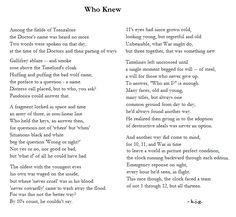 Doctor Who - Interesting poem...
