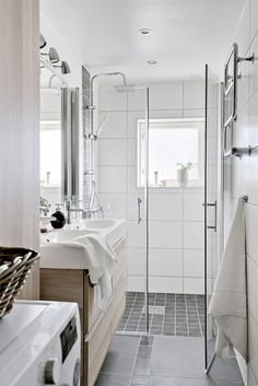 Bathroom inspiration guide: Pick the overall mood that you want your living space to convey. Do you have a tiny room that you might want to search more spacious? Maybe you are planning to design a cozy little corner to snuggle up with your chosen book. Bathroom Inspiration, Narrow Bathroom, Home, House, Bathroom Style, French Country Bathroom, Small Bathroom Remodel, Floating House, New Homes
