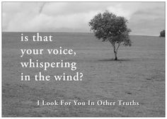 'is that your voice, whispering in the wind?'  -- I Look For You In Other Truths' by Ramon Loyola