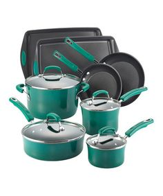 Create a stylish statement in the kitchen with this vibrant and versatile cookware set. Each piece boasts an attractive enamel finish and nonstick cooking surface for effortless cleanup.