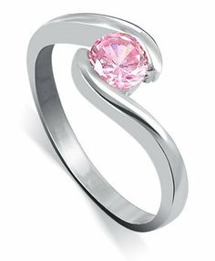 Sterling Silver Solitaire Pink Cubic Zirconia Round Promise Band Ring Size 5, 6, 7, 8, 9 Gem Avenue. $13.99