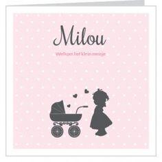 #Geboortekaartje voor een #meisje met silhouet van #kinderwagen met meisje hartjes en een stippel achtergrond Maak het jouw eigen kaartje door het aan te passen met eigen tekst en bijpassende afbeeldingen uit onze beeldenmap op www.babyboefjes.nl. Direct het kaartje bewerken: http://www.babyboefjes.nl/geboortekaartje-01-1-0427.html