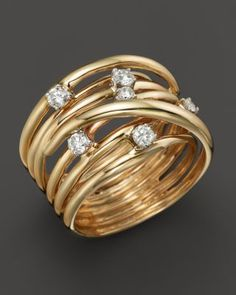 Diamond Station Crossover Band in 14K Yellow Gold, .35 ct. t.w. | Bloomingdale's