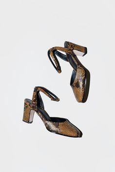No.6 Paloma High Heel in Ochre Snake
