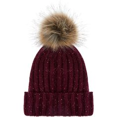 Accessorize Ribbed Flecked Pom Beanie Hat ($33) ❤ liked on Polyvore featuring accessories, hats, beanie cap hat, fake fur hats, faux fur hat, pom beanie and beanie caps