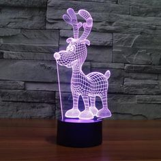Reindeer 3D Novelty Light 7 Colors Changing Night Light Creative Touch Desktop Lamps Visual Light 3D Lamp Christmas Decorations loft idea *** AliExpress Affiliate's Pin. To view further for this item, visit the image link.