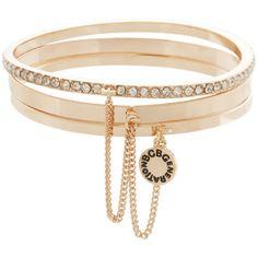 BCBGeneration Minimized Multi-Bangle ($28) ❤ liked on Polyvore featuring jewelry, bracelets, rose gold, pave bangle bracelet, bracelet bangle, bangle bracelet, bracelets & bangles and chain jewelry