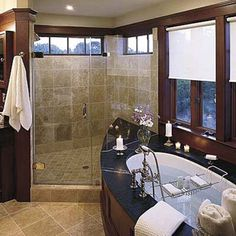 towel near shower entrance. consider shelving that continues into shower? or recess storage in shower for shampoo, soap etc?