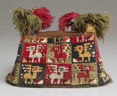 """Four-Cornered Hat, Peru, South Coast, Wari Culture, 700-1000, Cleveland Museum of Art. Repinned by Elizabeth VanBuskirk on """"Inca & Pre-Inca Textiles."""" Part of the royal dress during this  time called the """"Middle Horizon."""" Archaeologists speak of three """"horizons"""" when cultures because exceedingly powerful, shared similar beliefs and spread over great areas of South America."""