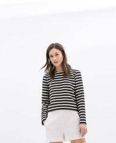 Image 1 of LONG-SLEEVE STRIPED TOP from Zara