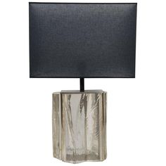For Sale on - Nice lamp made of a chrome rectangular structure and different panels of carved and polished lucite. Finished by a large dark grey shade. Bedside Lamp, Desk Lamp, Table Lamps, Project Table, Touch Lamp, Glass Furniture, Lamp Sets, Lamp Design, Floor Lamp