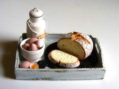 Bread, milk and egg tray - Miniature in 1:12 by Erzsébet Bodzás, IGMA Artisan | eBay