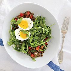Lentil Salad with Soft-Cooked Eggs | CookingLight.com #myplate #protein #vegetables