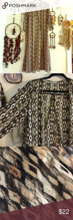 Tribal semi sheer duster kimono robe 3/4 sleeve Brand Asher Size xsmall amazing earthtone semi sheer 3/4 sleeve duster, looks awesome over a short slip with boots. Great beach or festival attire. Wore once / looks brand new.  NO TRADES asher Other