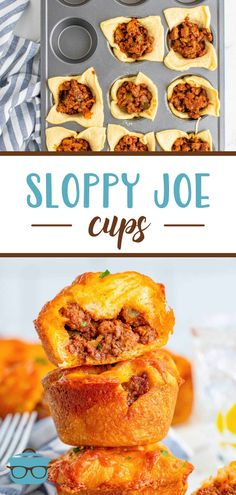 These Sloppy Joe Cups are a fun, flavorful and easy weeknight dinner recipe! They are made with a simple homemade sloppy joe filling, crescent dough and of course, cheese! Southern Food, Southern Comfort, Southern Recipes, Ground Meat Recipes, Beef Recipes, Cooking Recipes, Homemade Sloppy Joes, Crescent Dough, Country Cooking