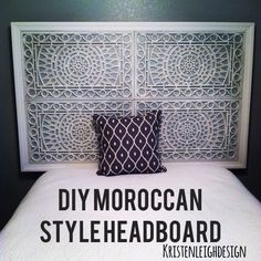 Make a Moroccan style  inspired headboard out of rubber doormats from target!  https://www.etsy.com/shop/KristenLeighDesign26