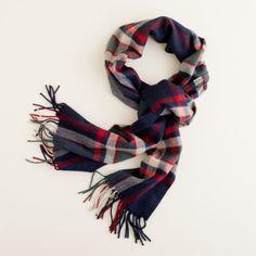 J Crew cashmere plaid scarf
