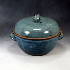 Blue Medium Casserole Dish WIth Lid Handthrown Stoneware Pottery 2. $56.00, via Etsy.