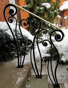 Trimble - Entrance Railing by Mark Puigmarti Wrought Iron Stair Railing, Gates And Railings, Stair Railing Design, Wrought Iron Decor, Staircase Railings, Banisters, Iron Gates, Iron Doors, Outdoor Stair Railing