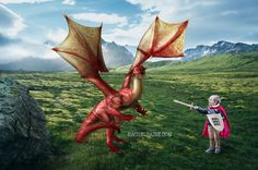 Photoshopped composite, boy fighting dragon. #childphotography