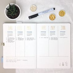 You know this spread probably from the last year. It's nearly the same for 2017, because I am so happy with it. Every month and week I check the appointments I collect to transfer them into the monthly and weekly layouts. So I think I can say that this is my most used and important layout in my Bullet Journal . Let me know what you are thinking about the combination of the shimmery gold and the light blue. I am absolutely in love . Have a nice and cozy Sunday evening guys . #bulletjourn...