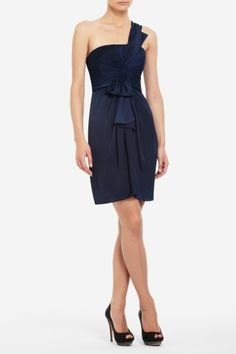 navy one-shoulder dress from bcbg - love the structured bow across the shoulder!