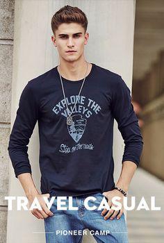Pioneer Camp men Hot T shirt fashion brand clothing Men's Long Sleeve T Shirt Cotton Elastic Casual T-Shirt Male 4XL plus size #fashion #style #shopping #mensfashion  #mensstyle #menswear #hoodie #sweatshirt #tshirt  #jacket #jeans