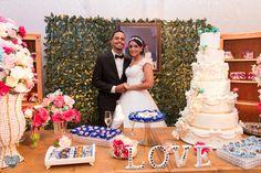 Decoração de casamento - mesa do bolo - noivos