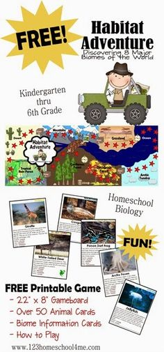 Free Printable Science game - Biomes, Animals, taxonomy for Homeschool kids #science #homeschooling