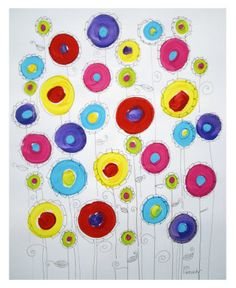 This would be so easy for kinders to do. Paint circles, let dry, then draw a flower around it with a thin marker.