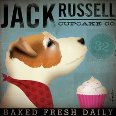 Jack Russell Cupcake Company original illustration graphic art on canvas 12 x 12 by stephen fowler