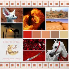 An aesthetic for Book One of the Sand Dancer series, a Young Adult Fantasy of fire magic, sword dancing, secrets, and revenge! Available to buy now in ebook and paperback.