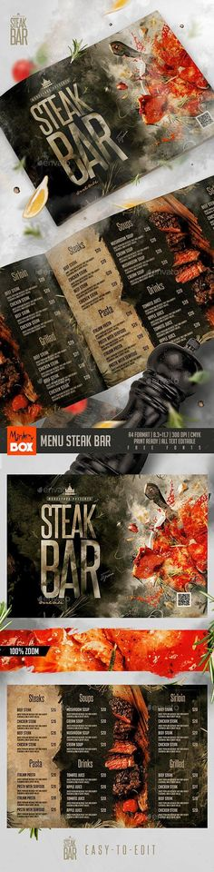 graphicresource designsetbar restaurant designset graphics steak menu bar for 9 Menu Steak Bar for can find Graphics and more on our website Steak House Menu, Steak Menu, Steak Pasta, Food Menu Template, Restaurant Menu Template, Restaurant Menu Design, Restaurant Steak, Menu Templates, Steaks