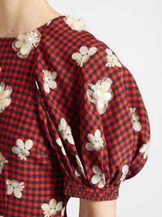 Simone Rocha Gingham and floral-print ruffled crepe dress