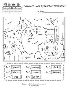 Kindergarten Halloween Color by Number Worksheet