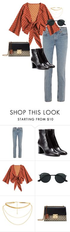 """""""Sans titre #946"""" by el-khawla ❤ liked on Polyvore featuring RE/DONE, Yves Saint Laurent, Ray-Ban and Gucci"""