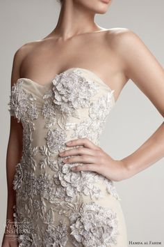 hamda al fahim fall 2012 2013 strapless gown 3d flower close up...Love these details & embellishments