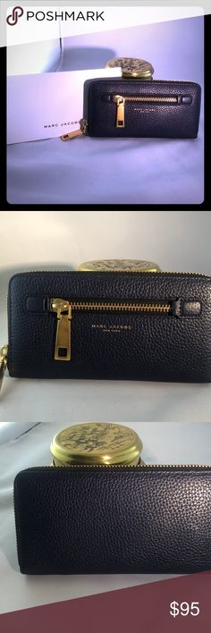 Marc Jacobs Navy&gold standard continental wallet Never used Navy blue and with gold hardware, Marc Jacobs standard continental wallet.  I never switched into this wallet from my old one, so it has never left the house. Marc By Marc Jacobs Bags Wallets